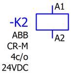 Czytanie schematów elektrycznych - Cewka przekaźnika z opisem