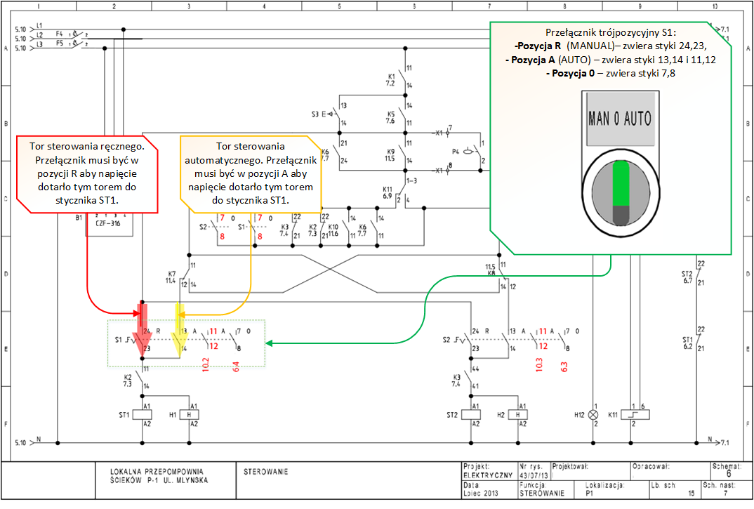Schemat elektryczny - rozdzielenie2