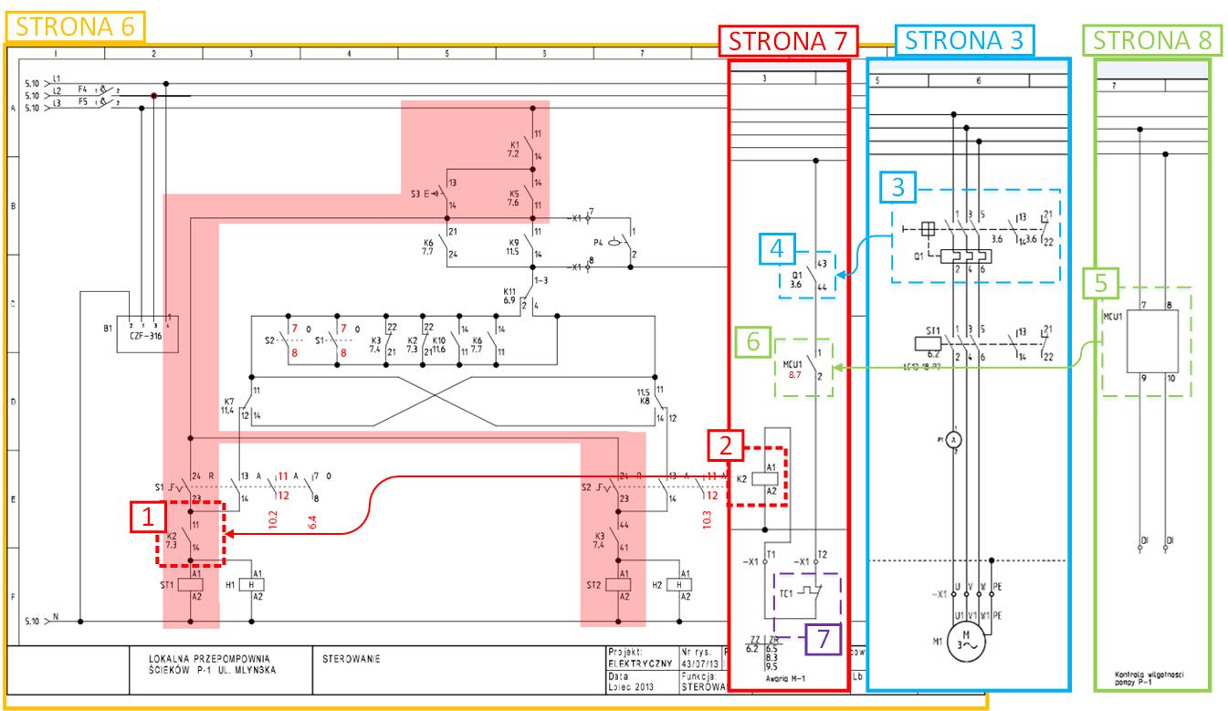 Schemat elektryczny - sterowanie reczne - awaria pompy
