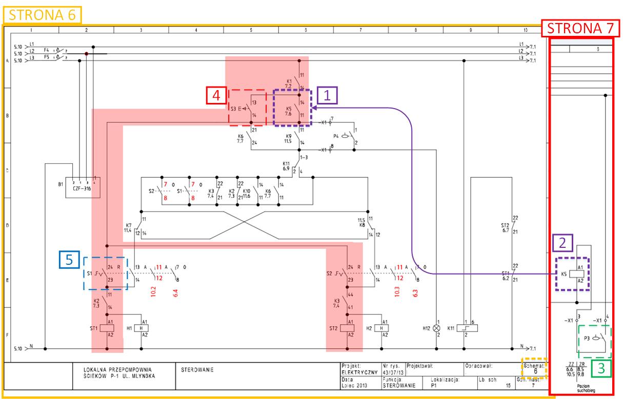 Schemat elektryczny - sterowanie reczne - suchobieg