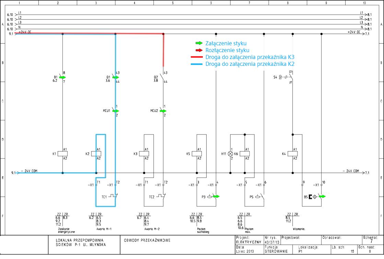 Schemat elektryczny 6 - dolaczenie pompy - awaria