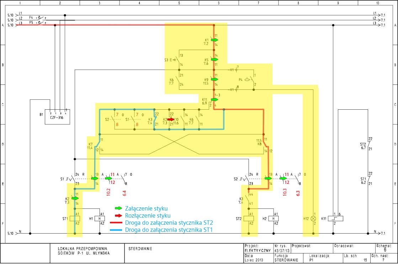 Rys. 6. Dołączenie pompy P1 przy awarii pompy P2