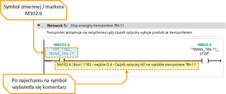 Rys. 2. Przykład ze szczegółowym komentarzem zmiennej w programie PLC