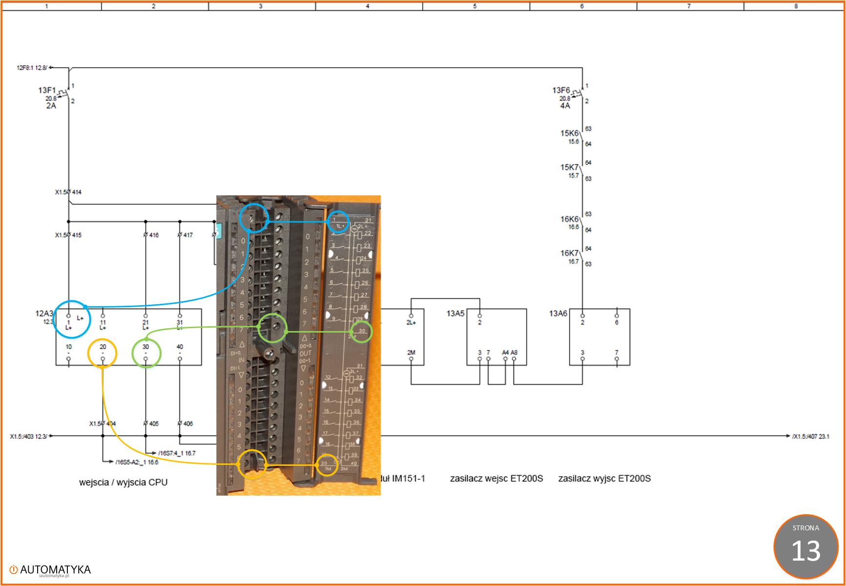 Strona 13 - Sterownik PLC 313C-2DP na schemacie elektrycznym automatyki - Zsilanie wejsc i wyjsc