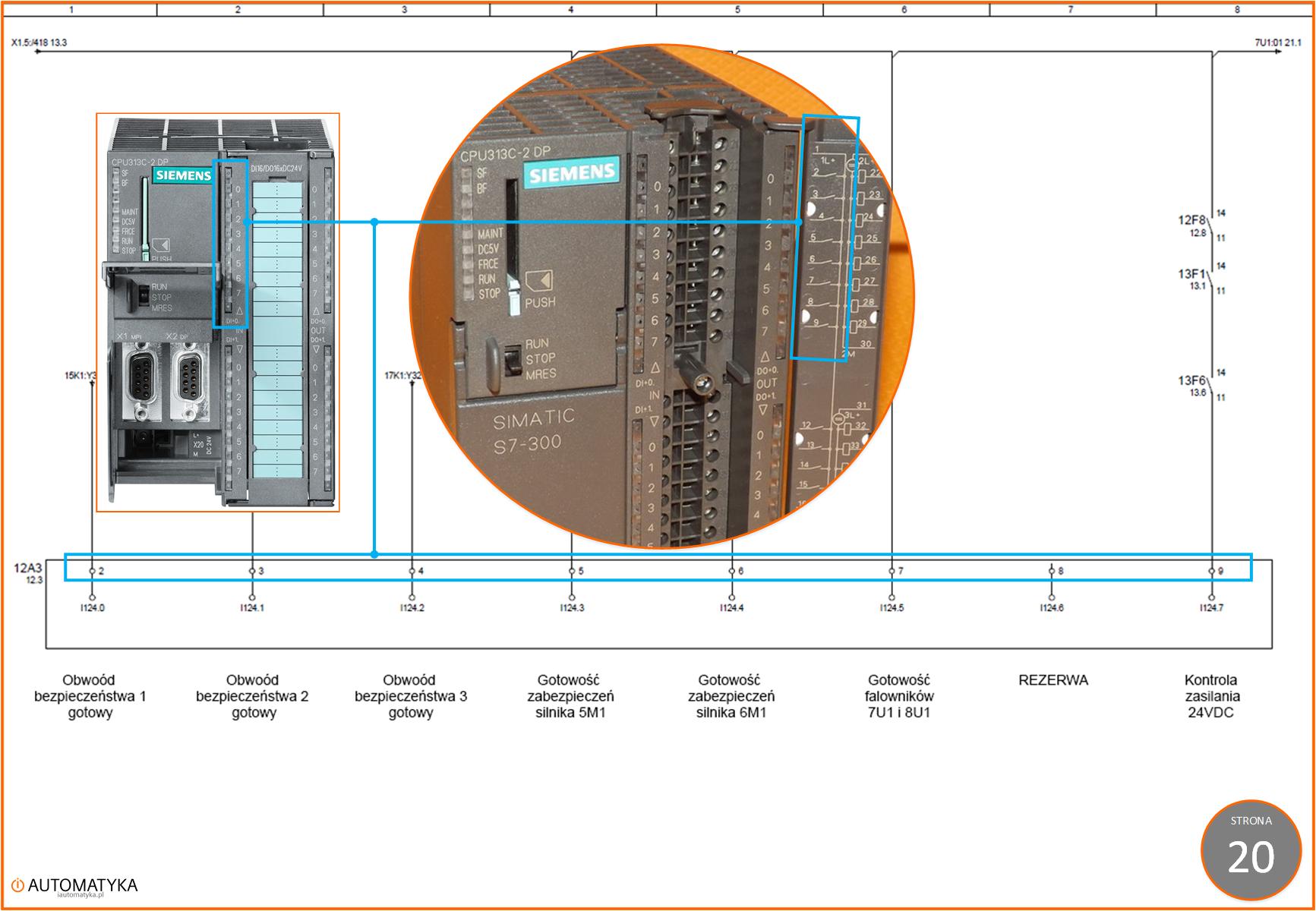 Strona 20.0 - Sterownik PLC 313C-2DP na schemacie elektrycznym automatyki - Wejscia cyfrowe 1.2