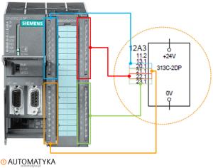 Strona 20.0 - Sterownik PLC 313C-2DP na schemacie elektrycznym automatyki - Wejscia cyfrowe 2