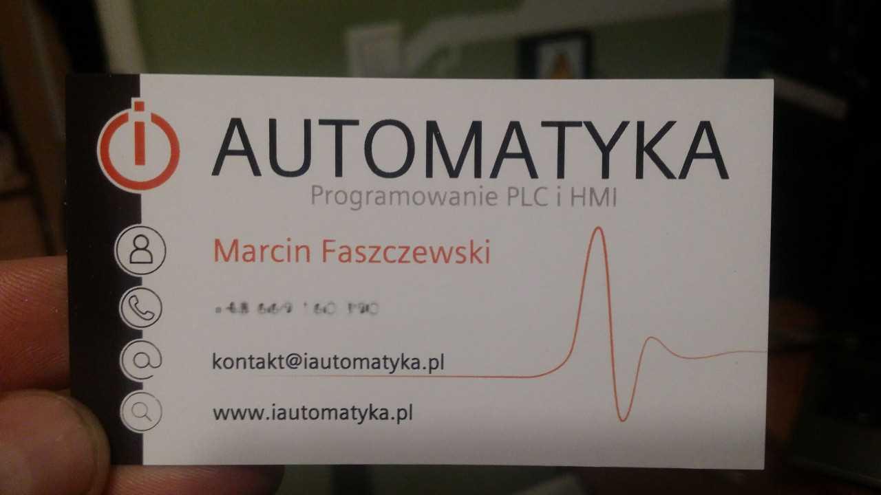 Wizytówka iAutomatyka.pl Marcin Faszczewski Programowanie PLC i HMI Schematy elektryczne
