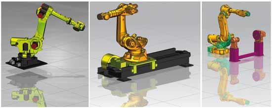 Różne konfiguracje robotów przemysłowych stosowanych jako maszyny CNC.