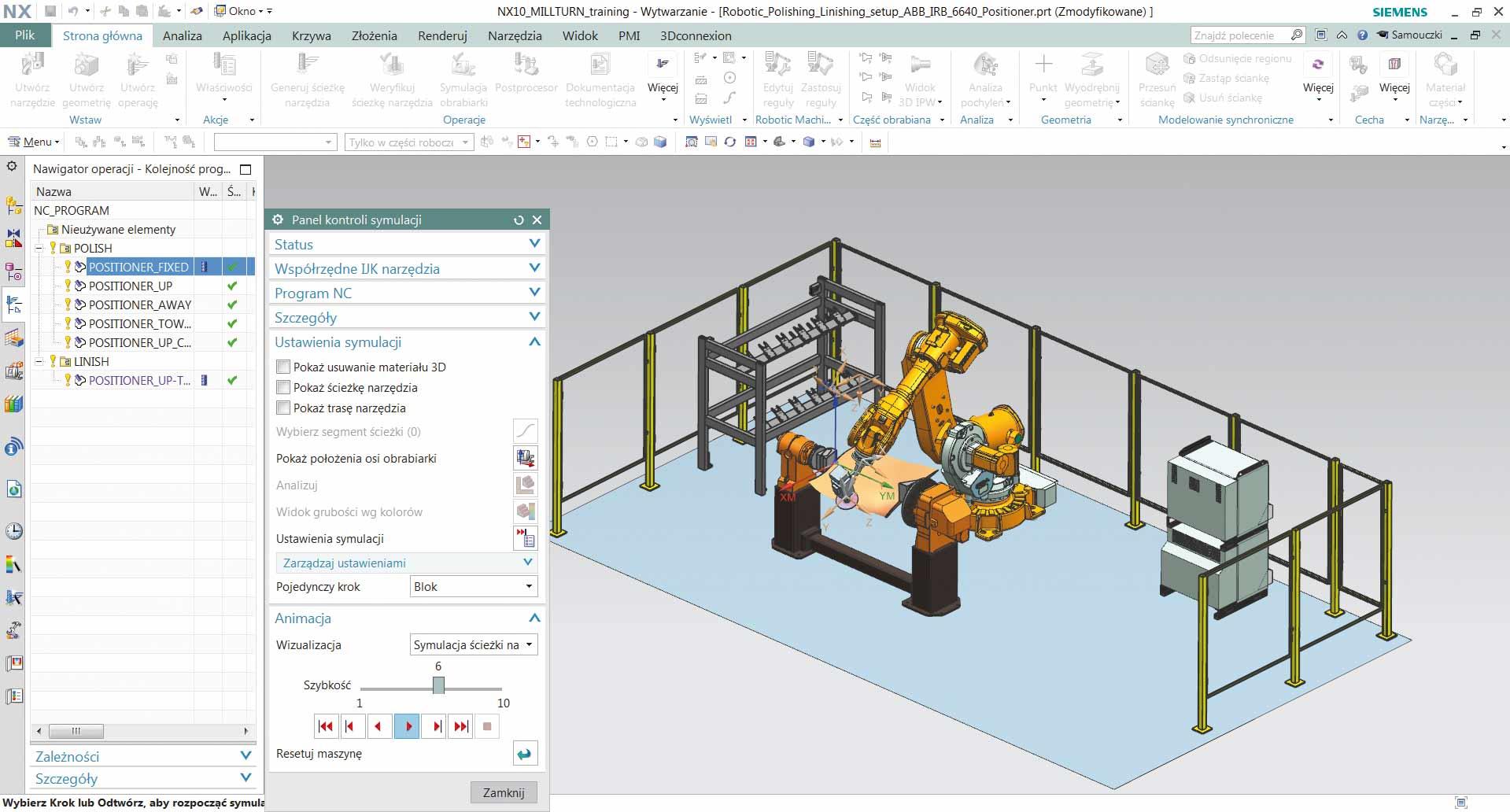 Interfejs użytkownika w programie NX CAM Robotics.