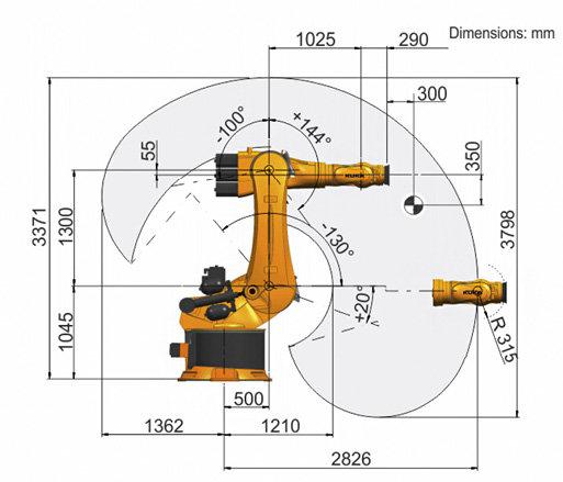 Zasięg roboczy robota KUKA KR500 R2830 MT.